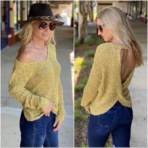 Mustard Twist Back Sweater